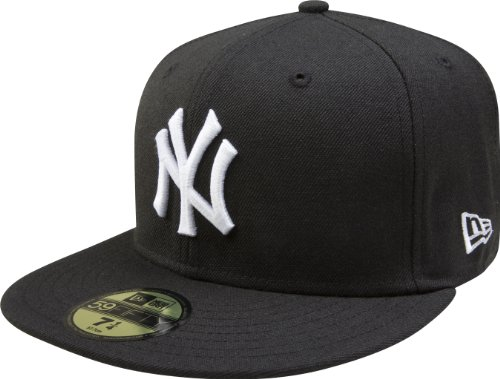 MLB New York Yankees Black with White 59FIFTY Fitted Cap, 7 3/8