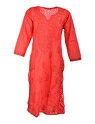 Naurati Exports Women's Cotton Straight Kurta (nau#05, Red, X-Large)