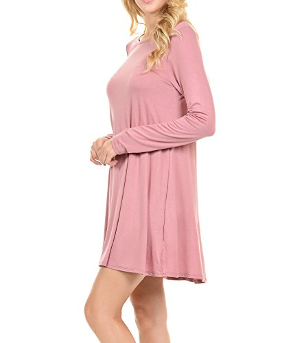 Stretchy Flowy Loose Fit Casual Work Cocktail Beach Lounge Evening Tunic Dresses Regular and Plus Size LS Mauve XXL