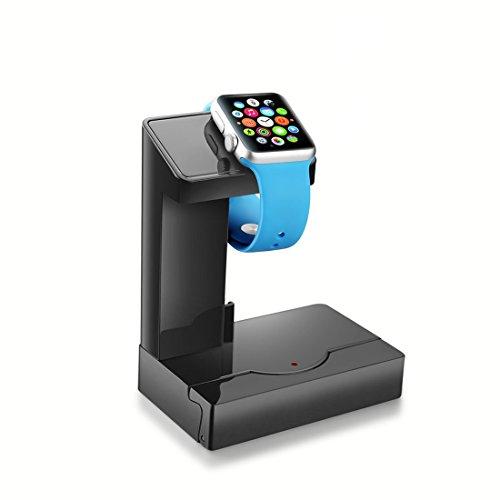 Abusun 5in1多機能スタンド Apple Watch充電スタンド モバイルバッテリー 配線ダクト USBチャージャー スマホスタンド iPhone/iPod/Samsung galaxy s6/Androidなどスマホに対応  (ブラック)