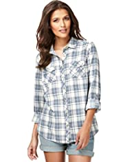 Indigo Collection Pure Cotton Double Face Checked Shirt