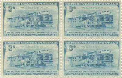 Three Stages of Rail Transportation Set of 4 x 3 Cent US Postage Stamp NEW