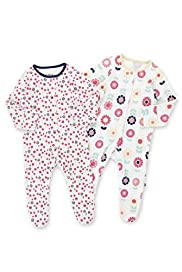 2 Pack Pure Cotton Spotted & Floral Sleepsuits