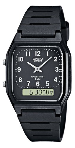 Casio AW-48H-1BVEF Quartz Analogue-digital Gents Watch with a black dial and black resin strap