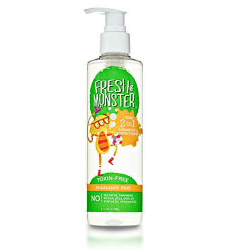 Fresh Monster 2-in-1 Kids Shampoo & Conditioner (Fragrance Free, 8 oz) - Toxin-Free - Sulfate-Free - Paraben-Free - Hypoallergenic - Cruelty-Free - Natural Kids Shampoo (Unscented Shampoo And Conditioner compare prices)