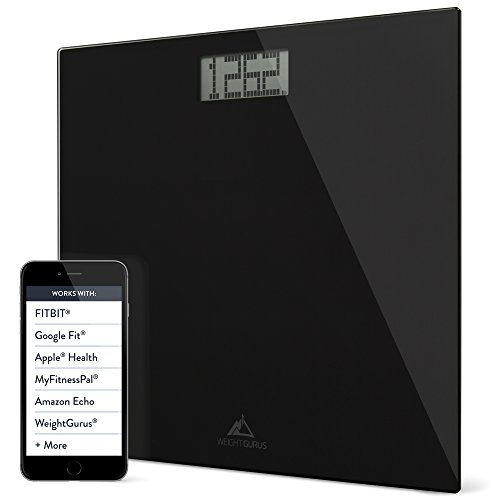 Weight Gurus Digital Bathroom Weight Scale (Black) Glass, Clean Design, Large Display, & Battery Included (Scale App compare prices)