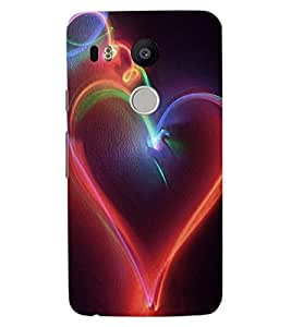 ColourCraft Lovely Heart Design Back Case Cover for LG GOOGLE NEXUS 5X