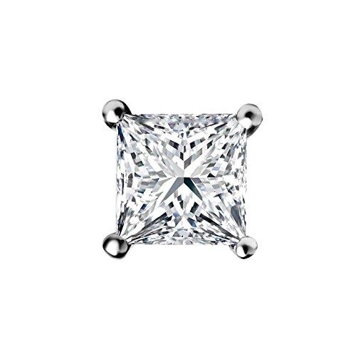 1 Ct Homme Diamant Coupe Princesse Boucles D Oreille A Tige En Or