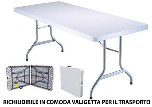 Tavolo Tavolino pieghevole in dura resina 183x76xH72 cm per sagra campeggio fiera casa