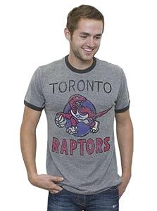 NBA Toronto Raptors Mens Vintage Tri-Blend Short Sleeve Ringer T-Shirt, Steel Black... by Junk Food