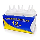 New Star Foodservice 25965 Plastic Wide Mouth Squeeze Bottles, 12-Ounce, Clear, Set of 6