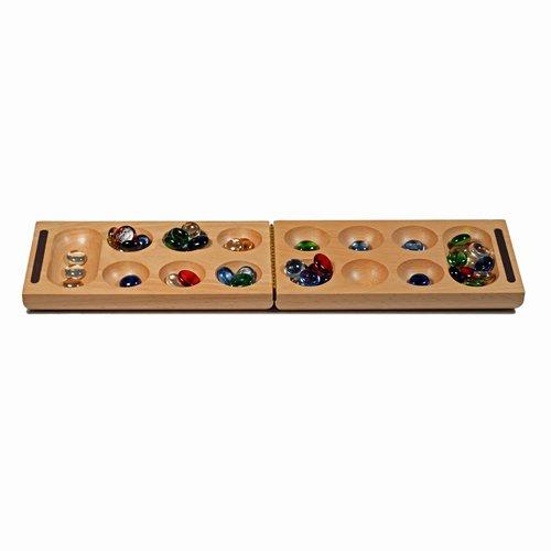 Imagen de Viajes plegable de madera maciza juego Mancala (Partido Africano Stone) - Incluye variadas piedras de cristal de colores