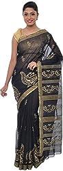 The Print Village Women's Cotton Silk Saree (Black)