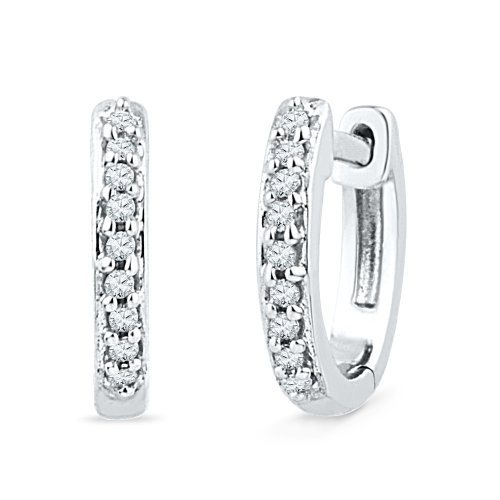 Sterling Silver Round Diamond Hoop Earring (0.08 cttw)