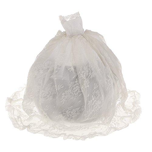 Robe De Gâteau Magnifique Blanc En Dentelle De Mariage Pour Poupée Barbie Avec La Couronne Et Le Voile