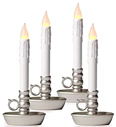 Set of 4 Cordless Battery Candles with Timer, in Pewter