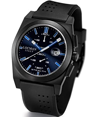 Locman Mens Stealth Watch Ceramic PVD Coating Black/Blue 202BKPVBKBLBK