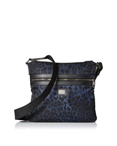 Dolce & Gabbana Men's Leopard Nylon Volcano Flat Messenger, Navy/Black