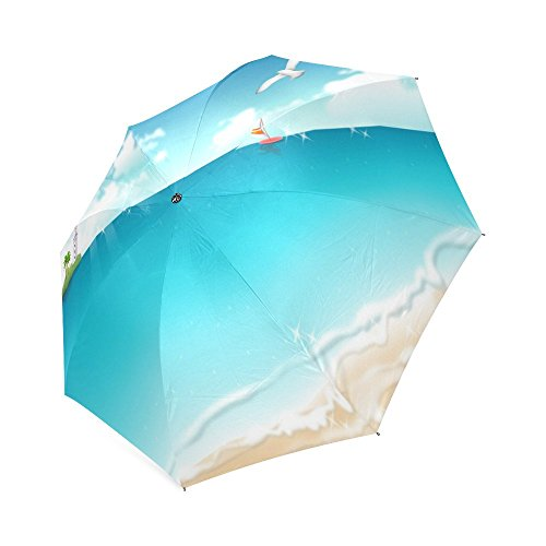New Arrive Rain/Sun Printing Beach,Sun and Sand Pictures Printed Auto Foldable Wind Resistant Travel Umbrella For Women Mini Parasol