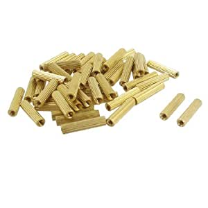 50 Pcs Female Threaded Pillars Brass Standoff Spacer Gold Tone M2x14mm