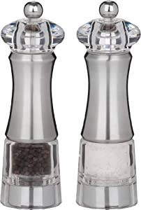 Trudeau Professional Acrylic/Stainless Steel Pepper and Salt Mill, 8-Inch