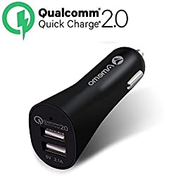 Quick Charge 2.0 Car Charger, Amemo 24W 2 Ports USB Car Charger - Smart 5V/2.4A + QC 2.0 12V/9V/5V for Samsung Galaxy S7/S6/Edge/Edge Plus/Note 5, Nexus 5X/6P, iPhone 6S/6S Plus,and More(Black)