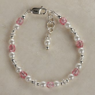 Sterling Silver Flower Girl Bracelet Pink Girls Childrens Jewelry Size Large 6-13 Years