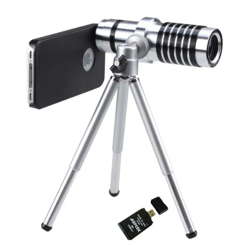 Agptek 14X Telephoto Manual Focus Telescope Phone Camera Lens For Apple Iphone 4 4S W/ Agptek Usb 2.0 All-In-One Card Reader