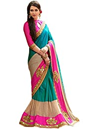 Pramukh Saris Women Georgette Saree With Blouse Piece (Prasang 2_Blue , Pink_Free Size)