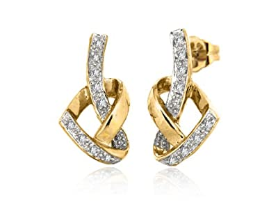 Carissima 9ct Yellow Gold 0.08ct Diamond Heart Knot Stud Earrings