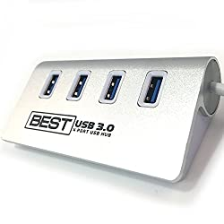 Best 4-Port USB 3.0 Hub (5.0 GHZ/SECOND - 10X FASTER!) - Aluminum Design USB Splitter - Perfect USB Switch for Any PC, Mac, Macbook, Laptop, or Any Computer - Also Compatible with USB 2.0, and USB 1.1