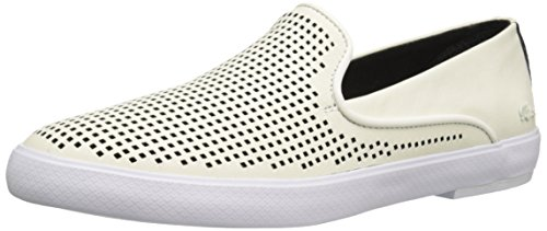 Lacoste Women's Cherre 216 1 Flat, Off White/Black, 9.5 M US