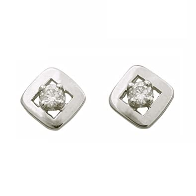 So Chic Jewels - 9k White Gold - Square Cubic Zirconia Stud Earrings
