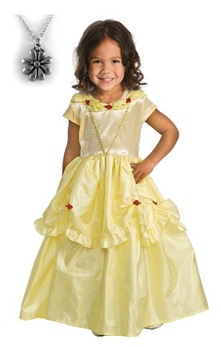 Belle Princess Dress with Wonderchamrs Necklace - MEDIUM (3-5)