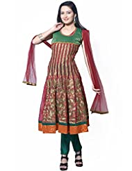 Utsav Fashion Women's Maroon Net And Chanderi Silk Readymade Anarkali Churidar Kameez-Small