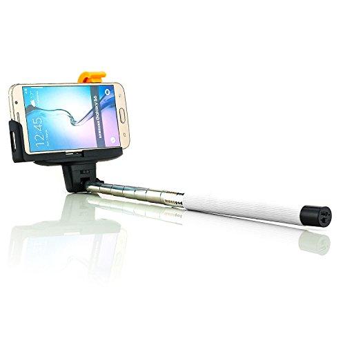 Saxonia. Universal Wireless Funk Bluetooth Selfie Stab Weiß | für Smartphones von Samsung Galaxy A3 (SM-A300 F) A5 (A500 F) Alpha (G850) Note 2 (GT-N7100 N7105 LTE) 3 (N9000 N9005) 4 (N910 F S C) Edge (N915) Mega 6.3 (i9200 i9205) S Duos (S7562 S7582) Young 2 | S3 Neo Mini (i9300 i9305 i8190 I9301) | S4 Active Zoom Value Edition (i9500 i9505 i9506 i9190 i9195 i9295 i9515 C1010) | S5 (G900 F H G800) Trend Lite Plus S6 & Edge | Halterung bis 1m ausziehbar | Ladezustands-LED
