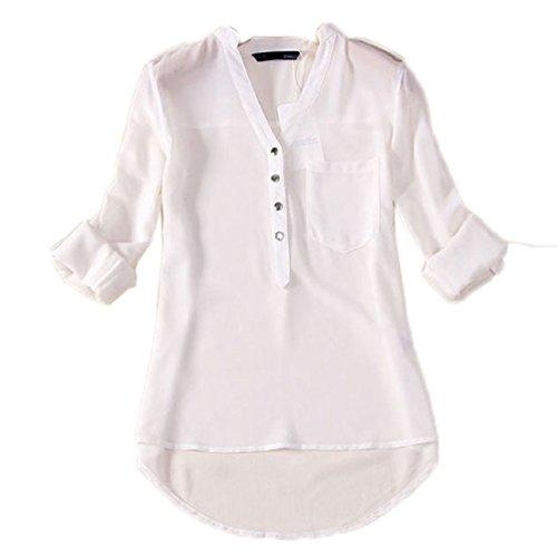 tongshi Donne-Collo a V a maniche lunghe in chiffon Camicia Casual Camicetta (L, Bianco)