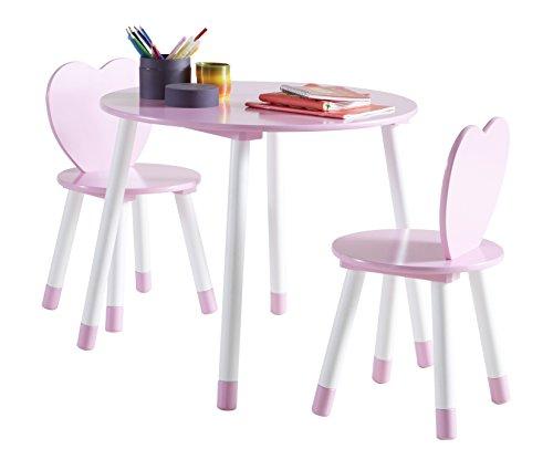 Demeyere-356712-Tisch-mit-2-Sthlen-Princess-60-x-50-x-60-cm-rosa-wei