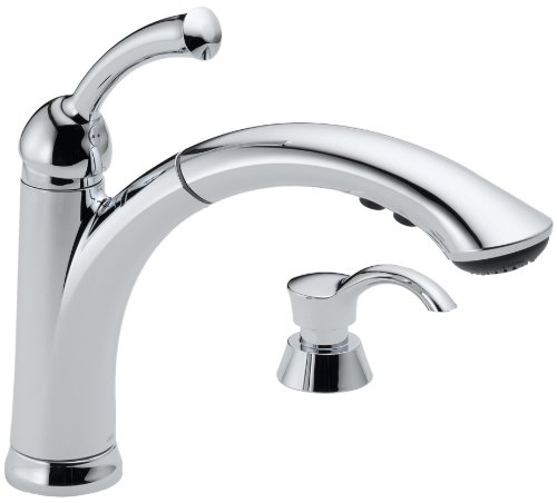 Delta 16926-SD-DST Lewiston Single Handle Pull-Out Kitchen Faucet with Soap Dispenser, Chrome