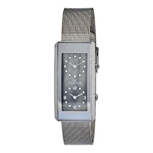 Skagen Women's 295SMM Quartz Mother-Of-Pearl Dial Dual Time Display Watch