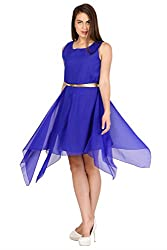 Pretty Angel Woman's Polygeorgette Dresses (X-Small, Blue)