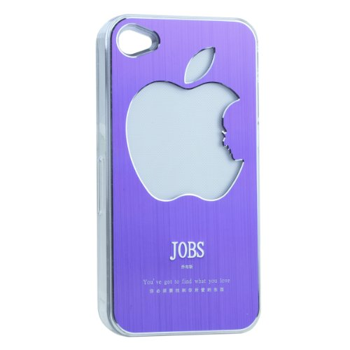 Apjobs Logo Led Rgb Color Flash Change Cover Case For Iphone 4S 4 (Purple)