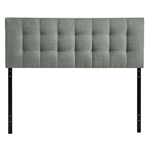 Modway Lily Full Upholstered Linen Headboard in Gray (Full Bed With Tufted Headboard compare prices)