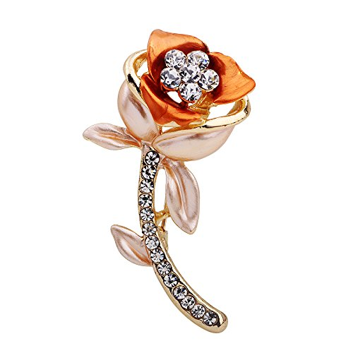 Romantic Time Rose For The Love Shiny Stone Decorated Amor Brooch Pin