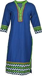 Artisan Women's Cotton Straight Kurta (CZF10028_L, Blue & Green, L)