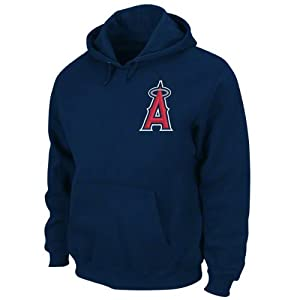 Los Angeles Angels of Anaheim Sweatshirt: Navy NX Flock Hooded Fleece Pullover by Majestic