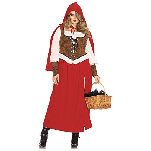 [GSG Little Red Riding Hood Costume Adult Halloween Fancy Dress] (Plus Size Dark Mad Hatter Costume)