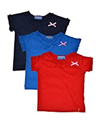 Clever baby girls Tshirt(ZCGT-004-NVY-BLU-RED-2-3Yrs_Multi_2-3 Years)