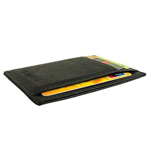 Carta tasca anteriore in vera pelle titolare caso della carta di credito 7 slot di Portafoglio (Nero)