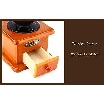 YOOYOO Retro Style Burr Coffee Grinder Hand Grinding Machine Hand-crank Roller (TAN)